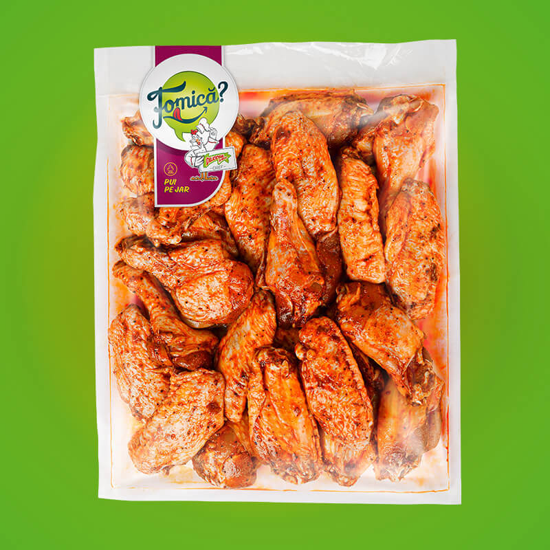 Seasoned chicken wings, frozen