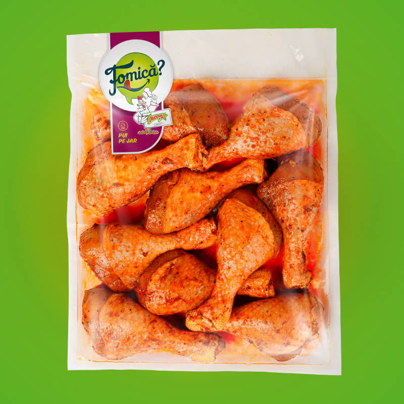 Chicken drumsticks, seasoned, frozen